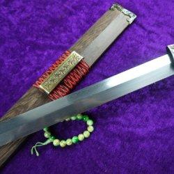 Chinese Han War Sword/Damascus Steel Blade/Rosewood Scabbard/Handmade/Red Handle