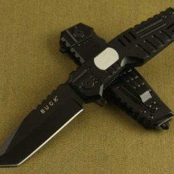 Buck B38 Hunting Pocket Knife Folding 5Cr13 56Hrc Oxidized Black Blade Aluminium Handle