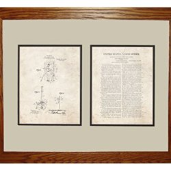 """Moulin Knife-Throwing Illusion Patent Art Old Look Print In A Honey Red Oak Wood Frame (16"""" X 20"""")"""