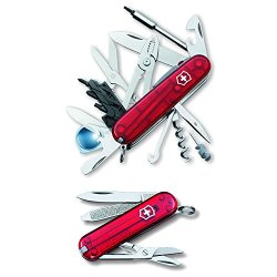 Victorinox Cybertool Lite Multi-Tool (Translucent Ruby) And Victorinox Swiss Army Classic Sd Pocket Knife (Translucent Ruby)