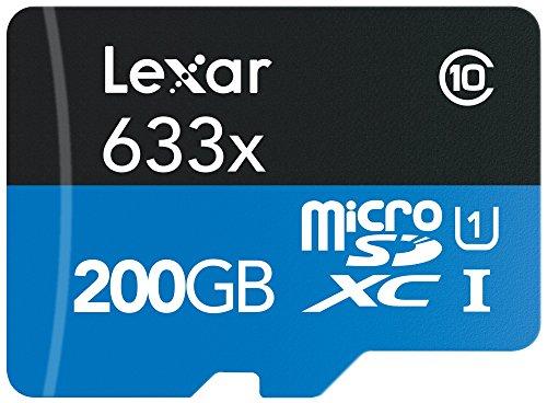 Lexar High-Performance Scheda microSDXC, 200 GB, Velocità fino a 95 MB/s, 633x, UHS-I, con Adattatore USB 3.0