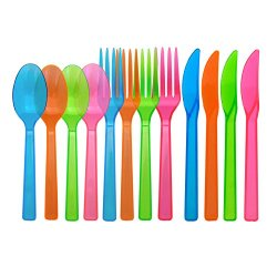 Party Essentials Hard Plastic Cutlery Combo Pack, Knives/Forks/Spoons, Assorted Neon Brights, 96 Place Setting-Count