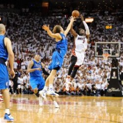 Dallas Mavericks V Miami Heat - Game Two, Miami, Fl - June 2: Dwyane Wade And Dirk Nowitzki Photographic Poster Print By Garrett Ellwood, 8X12