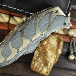 Custom Handmade Damascus Folding Knife - Beautiful Pocket Knife - Amazing Design & Value