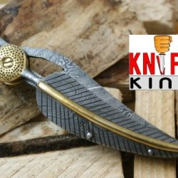 "Massive Sale"" Knife King Custom Damascus Handmade Folding Knife. With Leather Sheath. Top Quality"