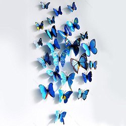 Good House® Hot !!! 3D 12Cm. Butterfly Blue Wall Sticker Diy Decoration Home Art Decal E2