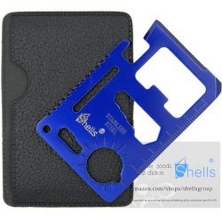 Shells 11 Function Blue Tungsten Steel Plating Military Pocket Credit Card Knife Emergency Camping Survival Kit