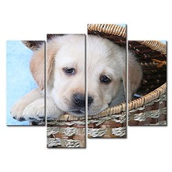 4 Panel Wall Art Painting Golden Retriever Puppy In A Basket Prints On Canvas The Picture Animal Pictures Oil For Home Modern Decoration Print Decor For Kitchen