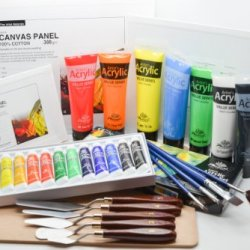 Quality Phoenix@ Artist'S Canvas Panel Set With Acrylic Paint Set, Rectangle Wood Palette, Palette Knives, 1 Set Of Painting Brushes, And 7 Tubes Of Acrylic Paint #16