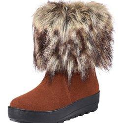 Guciheaven Winter Cute Girl Leather To Keep Warm Snow Boot(8 B(M)Us, Coffee)