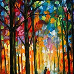 Modern Knife Paintng Painting Night Walk Wall Decor Superb Paintings On Canvas 20X40In/50X100Cm Unframed
