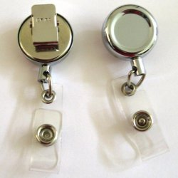 "1"" Name Badge Retractable Key Chain Extends 202"" Color Crome By 4137Com"