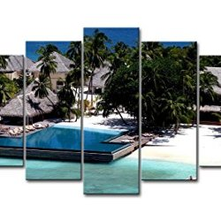 5 Piece Wall Art Painting Maldives Coconut Tree Swimming Pool Houses Pictures Prints On Canvas Seascape The Picture Decor Oil For Home Modern Decoration Print For Bedroom