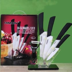 "Ceramic Knife Set 4""+5""+6""+7""+Peeler Inch Stand Kitchen Cutting Cutlery Sharp"