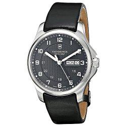 Victorinox Swiss Army Men'S 241549.1 Leather Officers Quartz Analog Grey Dial Watch