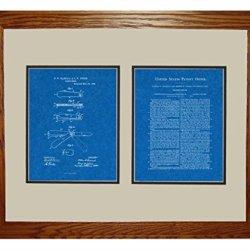 "Pocket Knife Patent Art Blueprint Print In A Honey Red Oak Wood Frame (16"" X 20"")"