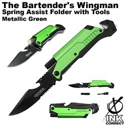 The Bartender'S Wingman Spring Assist Folder With Tools - Metallic Green