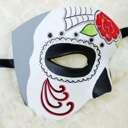 4 Colors Half Face Mexican Sugar Skull Hand-Painted Paper Mache Mask - Color May Vary (Red White Grey)