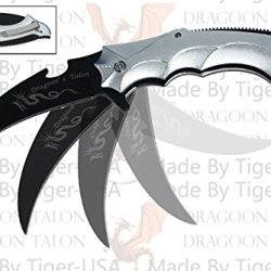 "10"" Action Assisted ""Dragoon Talon"" Knife - Dragon Smoke Silver Must Be 18 To Order This Item"