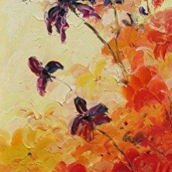 Palette Knife Fine Art Painting On Canvas,Modern Wall Art Morning Flowers 23X12 In/57.5X30Cm Unframed