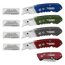 4Pc Husky Mini Folding Utility Knives With 24 Double-Ended Razor Blades Lifetime Warranty