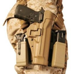 Blackhawk! Serpa Level 2 Tactical Holster Usmc, Coyote Tan/Size 04, Left Hand, (Beretta 92/96/M9 Std Or A1 W/Rails (Not Brig/Elite)