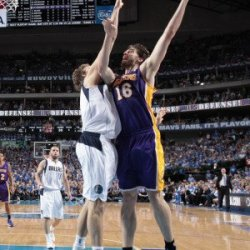 Los Angeles Lakers V Dallas Mavericks - Game Four, Dallas, Tx - May 8: Pau Gasol And Dirk Nowitzki Photographic Poster Print By Danny Bollinger, 8X12