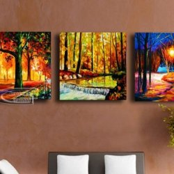 100% Hand-Painted Best-Selling Quality Goods Free Shipping Wood Framed On The Back New Combination Knife Painted Landscapeshigh Q. Wall Decor Landscape Oil Painting On Canvas 4Pcs/Set Mixorde