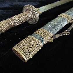 Kangxi Collection Sword/Brass Refined/Pattern Steel/Package Skin Scabbard/Kungfu