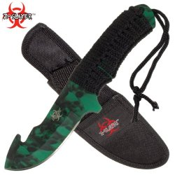 Z-Slayer Hunting Knife With Gut Hook And Nylon Sheath - 8.25 Inches Overall Length - Wooden Handle - Full Tang - High Carbon Steel Blade - Green Skull