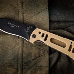 Tops Mil-Spie 3.5 Folder Knife Coyote Tan Handle Black Blade Mil3.5H-03