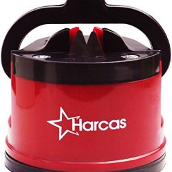 ★Massive Sale★ Best Knife Sharpener By Harcas - Sharpens All Steel Kitchen Knives, Pruning Shears, Serrated Knives And Blender Blades. Made Of Long Lasting Tungsten Carbide Blades. Red