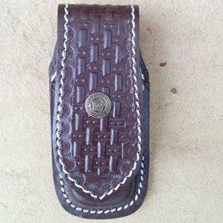 Bushcraft Folding Knife Sheath Leather Man Wave Case With Belt Loop
