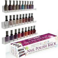"Nail Polish Rack: New ""Invisible"" Design Crystal-Clear Acrylic 3 Shelf Set For Wall Mount, Holds 45 Bottles"