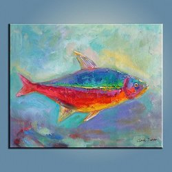 Palette Knife 10X12 In/25X30Cm Colorful Fish,Fine Art Superb Quality And Craftsmanship,Unframed Knife Painting Wall Art