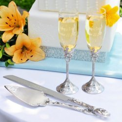 Exclusive Gifts And Favors-Satin Finish Champagne Flutes & Cake Server Set - Save 10%