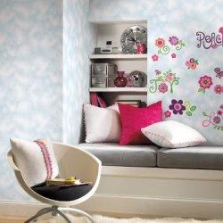 Wall In A Box Wib1020 Love Joy Peace Wallpaper, Sky Blue, Cloud White, Hot Pink, Green, Purple