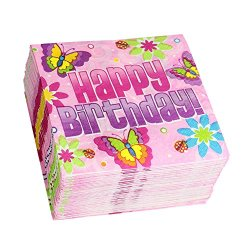 Pink Happy Birthday Beverage Napkin, Birthday Butterfly Party Napkins (150 Count)