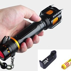 Hkbayi 2000 Lumen Led Flashlight Cree Xml Xm-L T6 Torch Camping Equipment The Lamp Lamps With Rivet Knife Alarm Waterproof Come With 18650 Battery + Charger