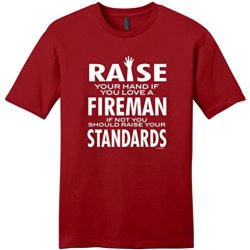 Love A Fireman If Not Raise Your Standards Young Mens T-Shirt Medium Classic Red