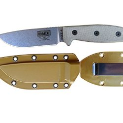 Esee Knives Model 4 Plain Edge Fixed Blade Knife (Uncoated) With Coyote Brown Molded Sheath & Belt Clip Plate