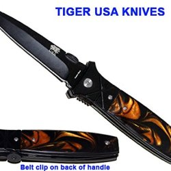 "9"" Heavy Duty All Black Pocket Knife With Brown Pearl Handle"