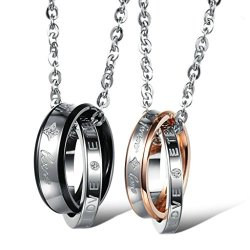 "His & Hers Couple Stainless Steel Necklace Engraved ""Forever Love "" Rings Pendant"