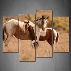 Brown Two Horses Play On Dry Lawn Wall Art Painting Pictures Print On Canvas Animal The Picture For Home Modern Decoration