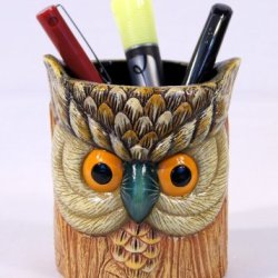 Hand Painted Poly Resin Gray Owl Pen Pencil Holder Container Grey Color 5""