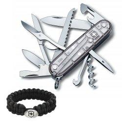 Victorinox Swiss Army Knife Tech Huntsman, Silver Translucent With Victorinox Paracord Bracelet