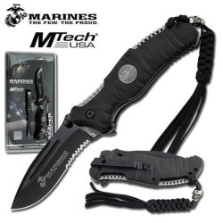Us Marine Corps Tactical Folding Knife - Heavy Duty Black