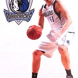 "Dirk Nowitzki Mini Fathead + Dallas Mavericks Logo Official Nba Vinyl Wall Graphics 7"" Inch"