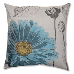 """18"""" Blue And Gray Spring Breeze Square Decorative Throw Pillow"""