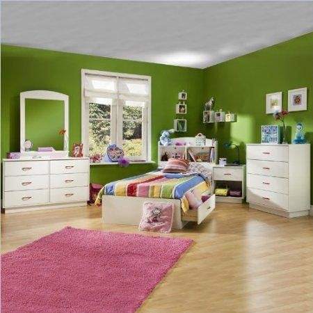 Image of South Shore Logik Kids Pure White Twin Wood Mates Storage Bed 4 Piece Bedroom Set (3360213-4PKG)